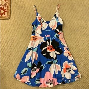 Express Tropical Blue Spaghetti Strap Dress